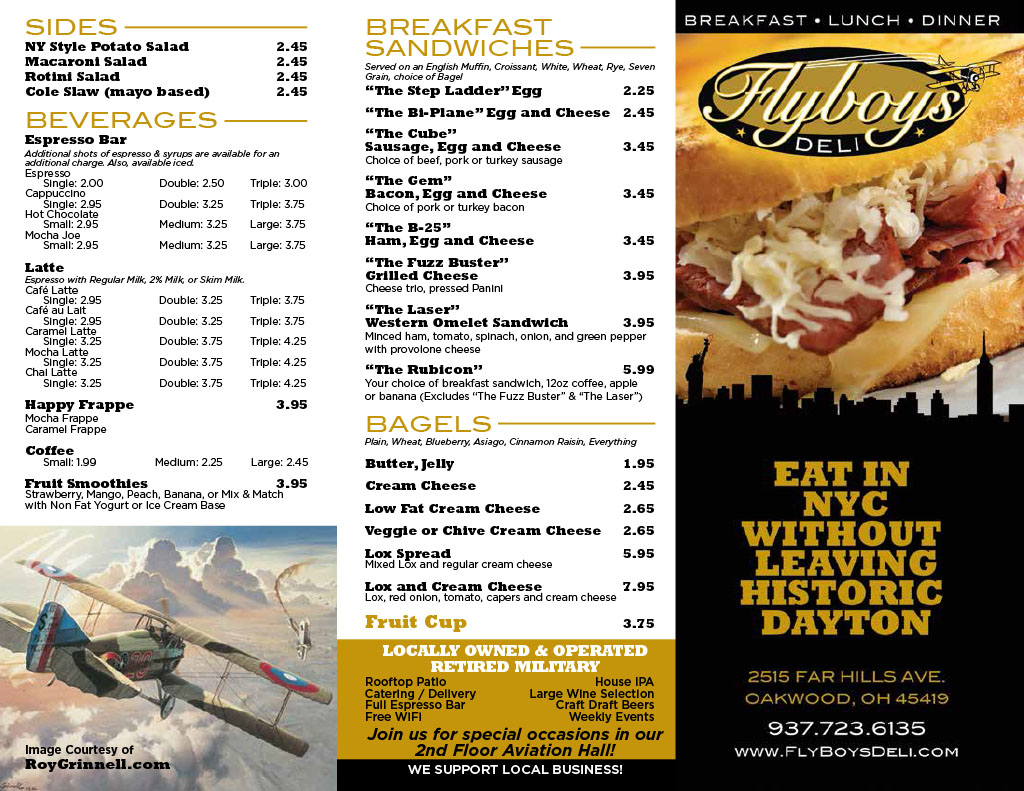 Flyboys Deli Takeout Menu - Front